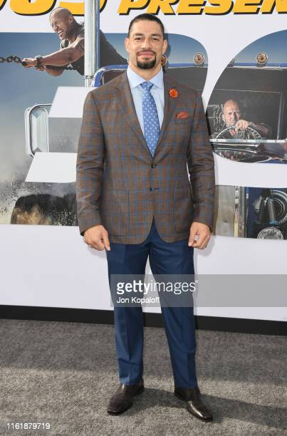 Roman Reigns attends the Premiere Of Universal Pictures' Fast Furious Presents Hobbs Shaw at Dolby Theatre on July 13 2019 in Hollywood California