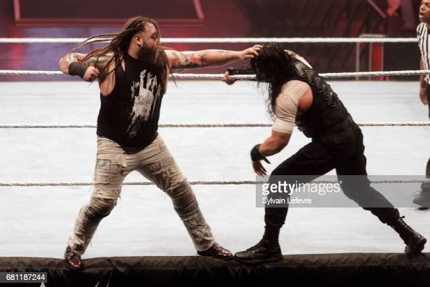 Roman Reigns fights against Bray during WWE Live 2017 at Zenith Arena on May 9 2017 in Lille France