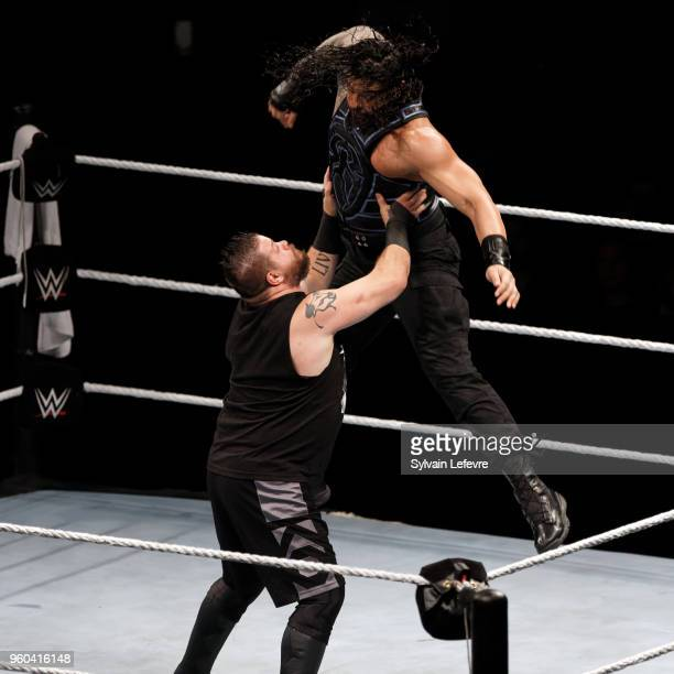 Roman Reigns in action vs Kevin Owens during WWE Live AccorHotels Arena Popb Paris Bercy on May 19 2018 in Paris France