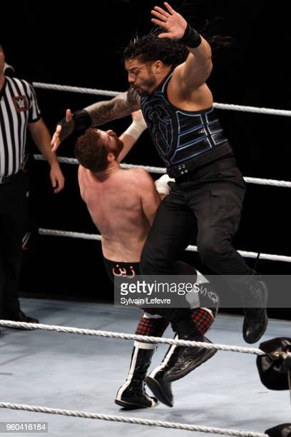 Roman Reigns in action vs Sami Zayn during WWE Live AccorHotels Arena Popb Paris Bercy on May 19 2018 in Paris France