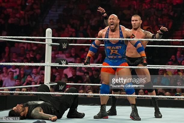 Roman Reigns Randy Orton and Ryback vie for the right to face WWE World Heavyweight Champion Seth Rollins at Extreme Rules at the WWE Monday Night...