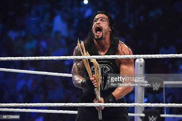 Roman Reigns reacts during the WWE Smackdown on September 1 2015 at the American Airlines Arena in Miami Florida