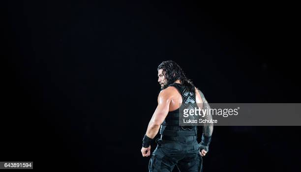 Roman Reigns reacts during to the WWE Live Duesseldorf event at ISS Dome on February 22 2017 in Duesseldorf Germany