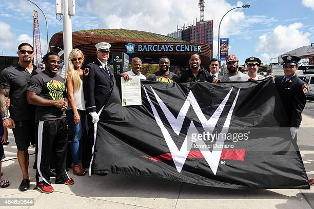 Roman Reigns WWE Xavier Woods WWE Superstar Summer Rae WWE Diva Eric L Adams Brooklyn Borough President Big E WWE Superstar Jimmy and Jey Uso WWE...