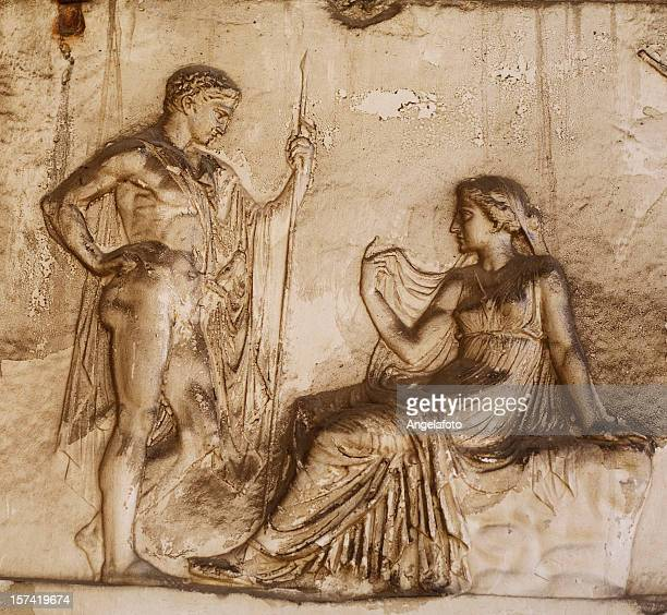 roman relief in herculaneum - relief carving stock pictures, royalty-free photos & images
