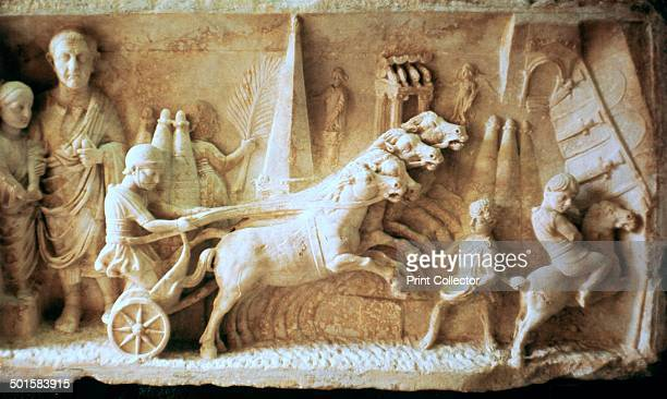 Roman relief of a chariot race and spectators from the Vatican Museum's collection