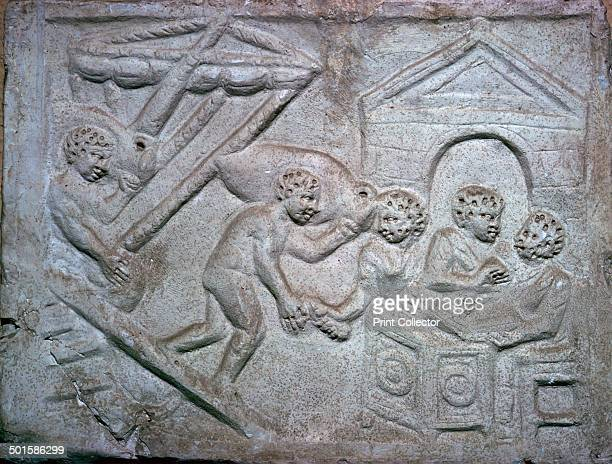Roman relief of a ship unloading amphorae with tallyclerks on the quayside