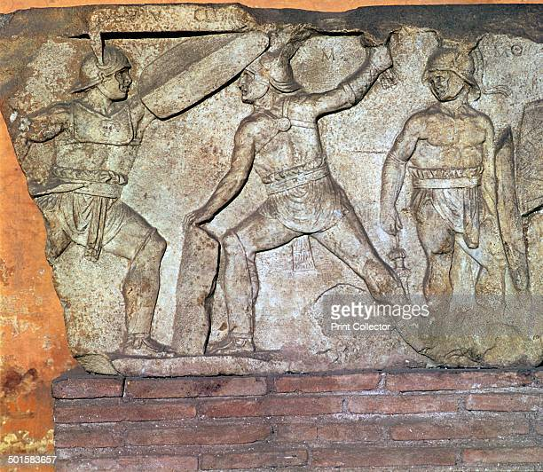 Roman relief of gladiators from the Via Appia in Rome showing a Retiarius on the right with a net and a Secutor on the left