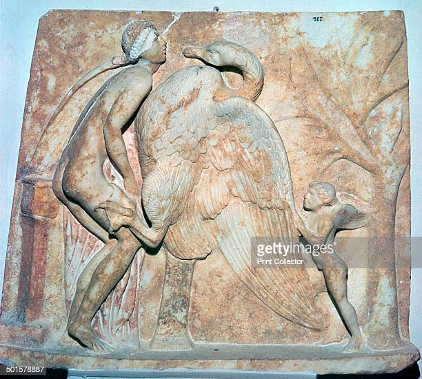 A Roman relief of Leda and the Swan from Crete The swan is Zeus who will ravish Leda and father Helen of Troy and the Dioscuri 1st century