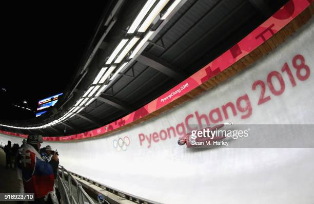 Roman Repilov Olympic Athlete from Russia slides in run 4 during the Luge Men's Singles on day two of the PyeongChang 2018 Winter Olympic Games at...