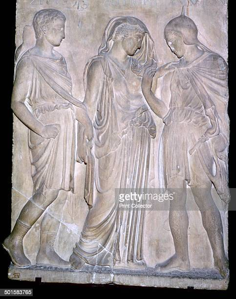 A Roman replica of a classical Greek relief showing from right to left Orpheus Eurydice and Hermes The names above the figures are incorrect and...