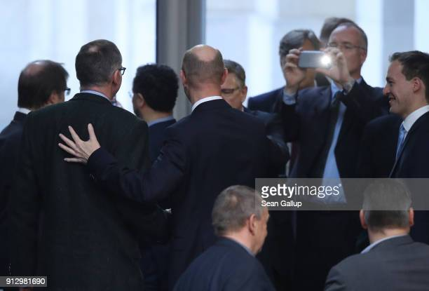 Roman Reusch of the rightwing Alternative for Germany political party receives applause from colleagues after he was elected to the Bundestag...