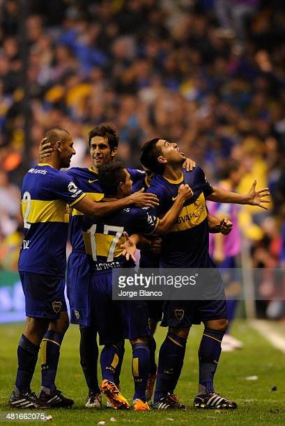 Roman Riquelme of Boca Juniors celebrates after scoring during a match between Boca Juniors and River Plate as part of 10th round of Torneo Final...