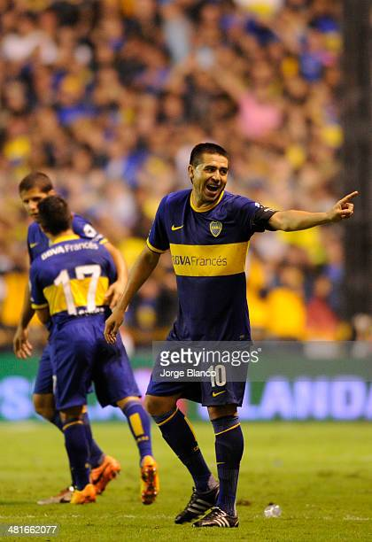 Roman Riquelme of Boca Juniors reacts during a match between Boca Juniors and River Plate as part of 10th round of Torneo Final 2014 at Alberto J...