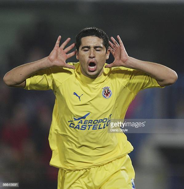 Roman Riquelme of Villarreal celebrates his goal during a Primera Liga match at the Madrigal stadium on January 22, 2006 in Castello de la Plana,...