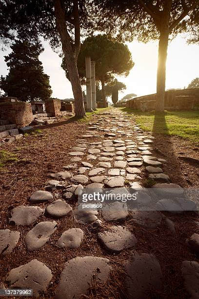 Roman Road at Ostia Antica Archeological Site