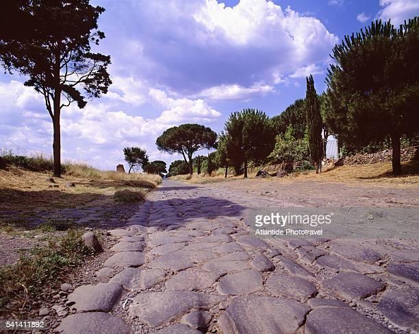 Roman road of Via Appia or Appian Way in Rome