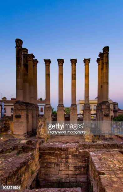 roman ruins at twilight - highlywood stock photos and pictures