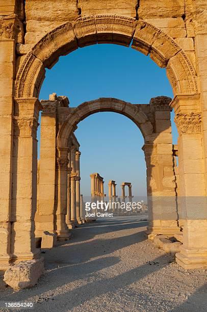 roman ruins of palmyra, syria - palmyra stockfoto's en -beelden