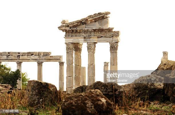 roman ruins of pergamum - bergama stock pictures, royalty-free photos & images