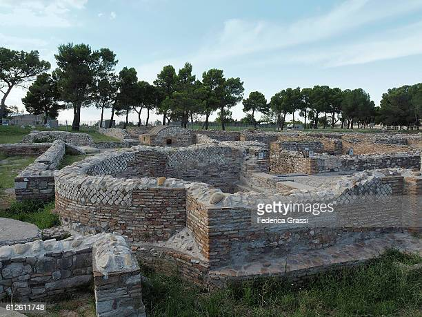 roman ruins of the thermal baths in venosa, basilicata, southern italy - バシリカータ ストックフォトと画像