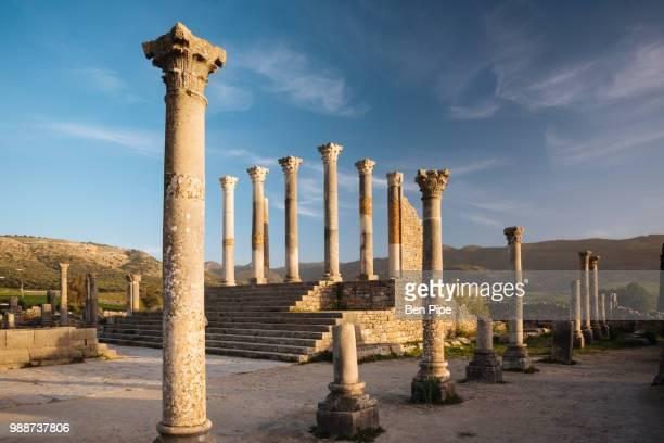 roman ruins of volubilis, unesco world heritage site, morocco, north africa, africa - volubilis fotografías e imágenes de stock