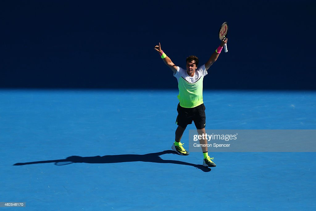 Roman Safiullin of Russia celebrates winning his Junior Boys' Singles Final match against Seong-chan Hong of Korea during the Australian Open 2015 Junior Championships at Melbourne Park on January 31, 2015 in Melbourne, Australia.