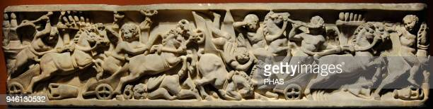 Roman sarcophagus depicting a carts race in the circus End of the Antonine Era Unknown artist Marble National Gallery Oslo Norway