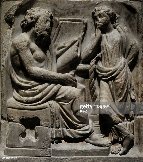 Roman sarcophagus fragment depicting a Poet and Muse Third quarter of the 3rd century AD Marble The State Hermitage Museum Saint Petersburg Russia