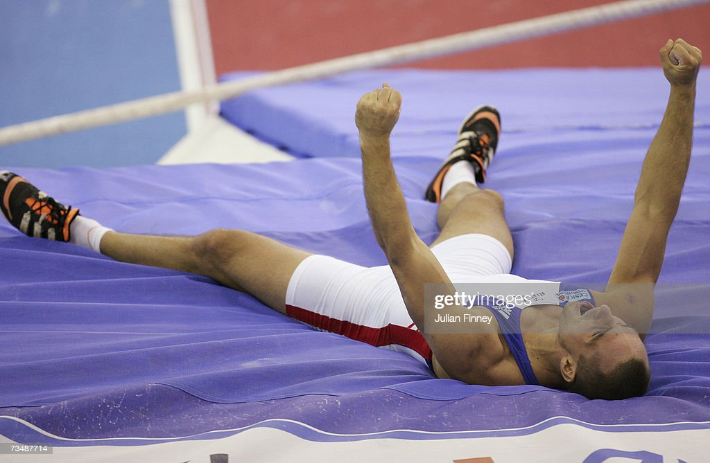 Roman Sebrle of the Czech Republic celebrates a successful attempt during the Pole Vault discipline in the Men's Heptathlon on day three of the 29th European Athletics Indoor Championships at the National Indoor Arena on March 4, 2007 in Birmingham, England.