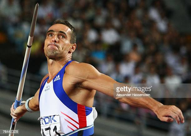 Roman Sebrle of the Czech Republic competes in the Javelin Throw event of the Men's Decathlon during day eight of the 11th IAAF World Athletics...
