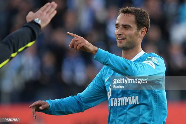 Roman Shirokov of FC Zenit St. Petersburg celebrates after scoring a goal during the Russian Premier League match between FC Zenit St. Petersburg and...