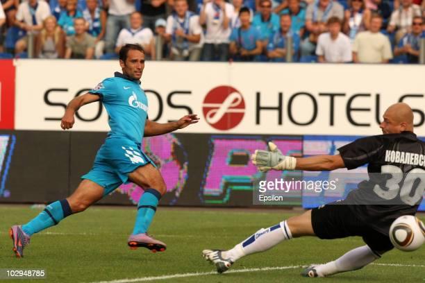 Roman Shirokov of FC Zenit St. Petersburg scores a goal during the Russian Football League Championship match between FC Zenit St. Petersburg and FC...