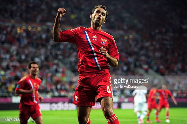 Roman Shirokov of Russia celebrates scoring their second goal during the UEFA EURO 2012 group A match between Russia and Czech Republic at The...