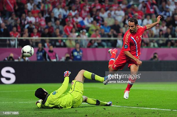 Roman Shirokov of Russia scores their second goal past Petr Cech of Czech Republic during the UEFA EURO 2012 group A match between Russia and Czech...