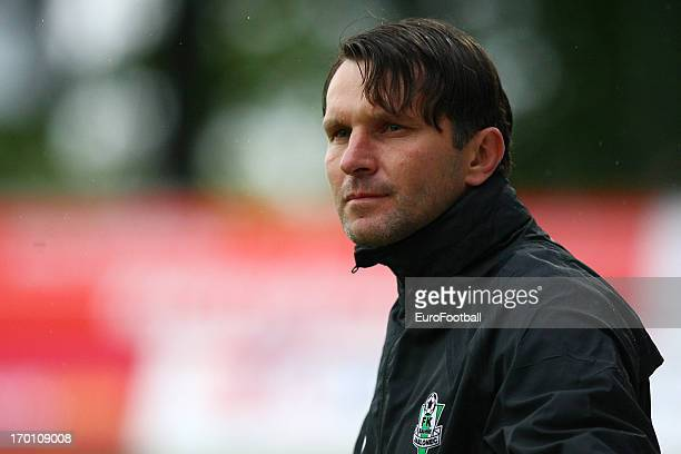 Roman Skuhravy, coach of FK Jablonec looks on during the Czech First League match between FK Jablonec and SK Sigma Olomouc held on May 26, 2013 at...