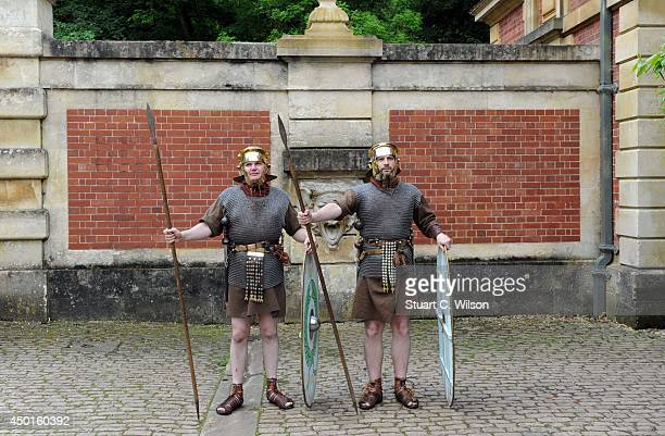 Roman Soldier Enthusiasts attend the opening of exhibition 'Predators Prey A Roman Mosaic From Lod Israel' at Waddesdon Manor on June 5 2014 in...