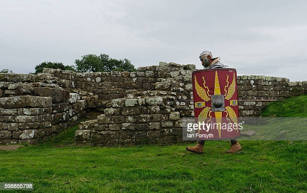 Roman soldier patrols next to Hadrian's Wall as the lives of Roman Legionnaires are reenacted during the Hadrian's Wall Live event at Birdoswald...