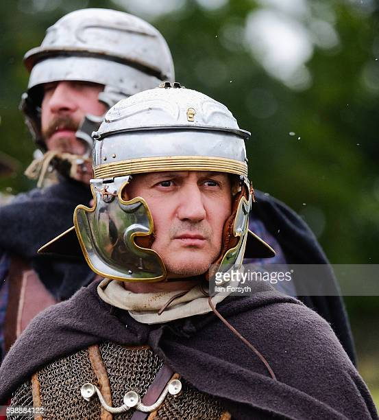 Roman soldier waits with his men before a battle with Barbarian warriors as the lives of Roman Legionnaires are reenacted during the Hadrian's Wall...