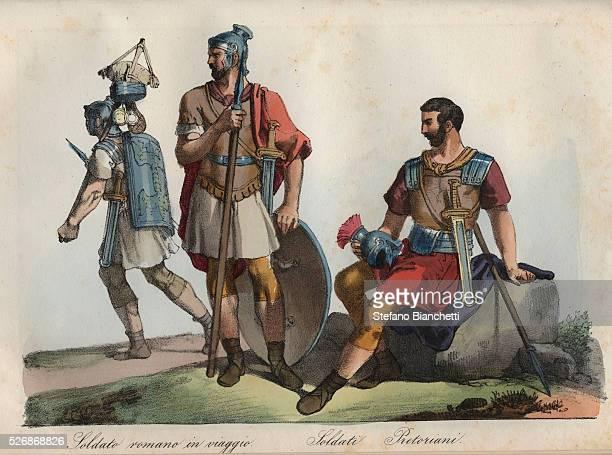 Roman Soldiers and Praetorian Guard engraving from Usi e Costumi di Tutti i Popoli dell'Universo Ovvero Storia del governo delle leggi della milizia...