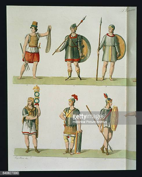 Roman Soldiers Aquatint by Eugenio Bosa from Part I of The History of the Nations