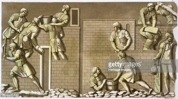 Roman soldiers building a fort Plate 21 from Le Costume Ancien et Moderne by Jules Ferrario published c1820s1830s