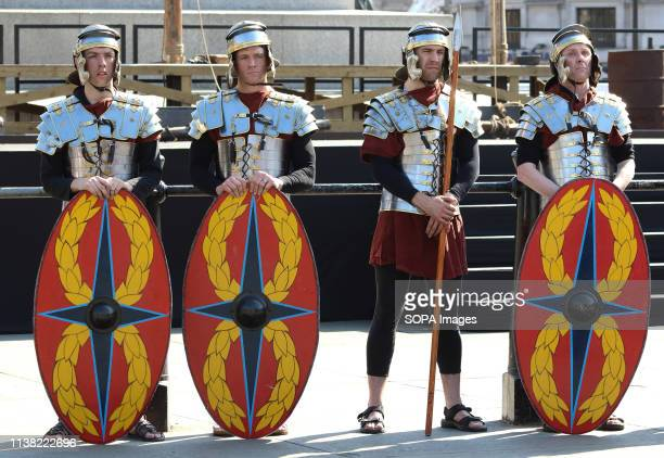 Roman Soldiers during a performance of 'The Passion of Jesus' by Wintershall players in Trafalgar Square Around 20000 people packed London's...
