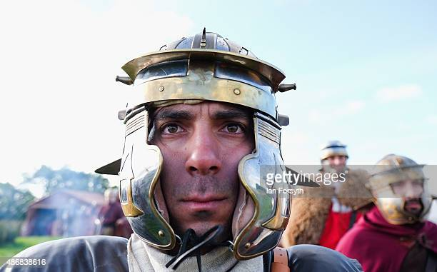 Roman soldiers from the Italian reenactment group Legio 1 Italica stands ready for battle as he takes part in a weekend of authentic events based...