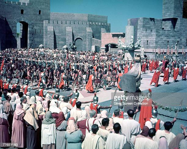 Roman soldiers march through the city in a scene from the film 'BenHur' 1959