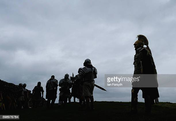 Roman soldiers prepare to go out on an evening patrol as the lives of Roman Legionnaires are reenacted during the Hadrian's Wall Live event at...