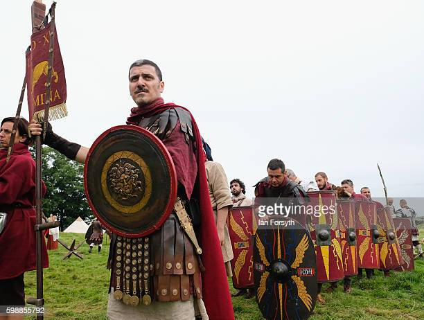 Roman soldiers prepare to march on to the battlefield as the lives of Roman Legionnaires are reenacted during the Hadrian's Wall Live event at...