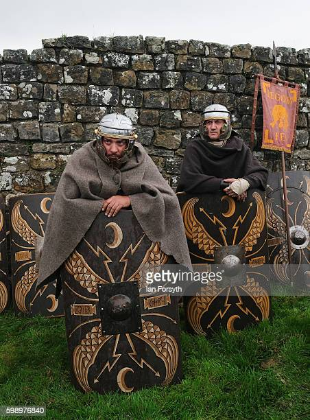 Roman soldiers wait to go out on an evening patrol as the lives of Roman Legionnaires are reenacted during the Hadrian's Wall Live event at...