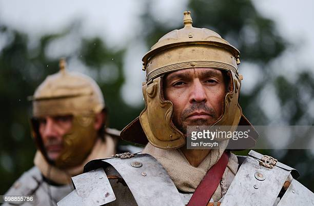 Roman soldiers waits to march onto the battlefield as the lives of Roman Legionnaires are reenacted during the Hadrian's Wall Live event at...