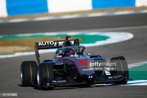 Roman Stanek of Czech Republic and Hitech Grand Prix drives at Circuito de Jerez on May 12, 2021 in Jerez de la Frontera, Spain.